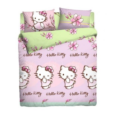 """Детское 1,5 спальное постельное белье """"Hello Kitty"""" Ранфорс"""