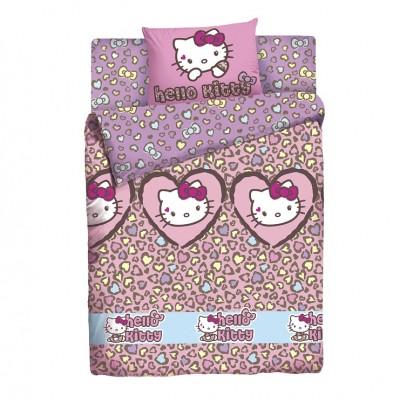 """Детский 1,5 спальный комплект постельного белья  """"Hello Kitty"""" """"Леопард"""" Ранфорс"""