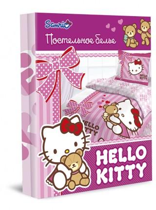 """Детский 1,5 спальный комплект постельного белья  """"Hello Kitty"""" """"Лучшие друзья"""" Ранфорс"""