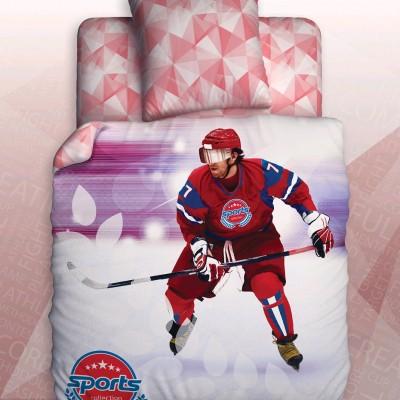 """Детский 1,5 спальный комплект постельного белья """"Hockey"""" Sport """"Unison Teens"""" Биоматин"""